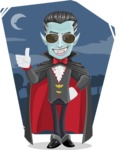 Halloween Vampire Vector Cartoon Character - With Dark Night Background