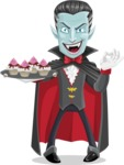 Halloween Vampire Vector Cartoon Character - With Halloween Sweets