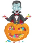 Halloween Vampire Vector Cartoon Character - With Huge Pumpkin full of Treats
