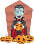 Halloween Vampire Vector Cartoon Character - With Pumpkins on a Background