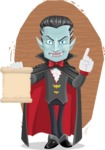 Halloween Vampire Vector Cartoon Character - With Wood Background