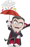 Little Vampire Kid Vector Cartoon Character - and Candies Raining Concept