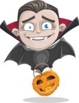 Little Vampire Kid Vector Cartoon Character - As a Bat