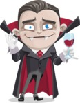 Little Vampire Kid Vector Cartoon Character - At Night Drinking Glass of Wine