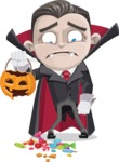 Little Vampire Kid Vector Cartoon Character - Being Sad With Broken Pumpkin Lantern