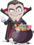 Little Vampire Kid Vector Cartoon Character - with Cauldron full of Sweets