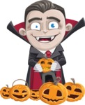 Little Vampire Kid Vector Cartoon Character - Celebrating Halloween With Pumpkins