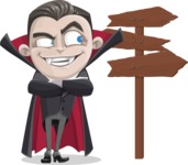 Little Vampire Kid Vector Cartoon Character - Choosing a Way To Go
