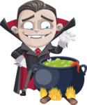 Little Vampire Kid Vector Cartoon Character - Cooking in a Caldron