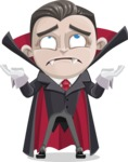 Little Vampire Kid Vector Cartoon Character - Feeling Confused
