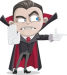 Little Vampire Kid Vector Cartoon Character - Finger Pointing with Angry Face