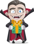 Little Vampire Kid Vector Cartoon Character - Holding a Halloween Gift