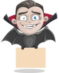 Little Vampire Kid Vector Cartoon Character - Holding a Blank Halloween Sign