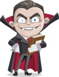 Little Vampire Kid Vector Cartoon Character - Holding a Book