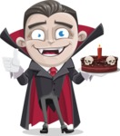 Little Vampire Kid Vector Cartoon Character - Holding a Halloween Cake