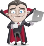 Little Vampire Kid Vector Cartoon Character - Holding a Laptop