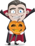 Little Vampire Kid Vector Cartoon Character - Holding a Pumpkin Lantern