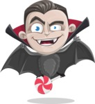 Little Vampire Kid Vector Cartoon Character - Holding a Treat