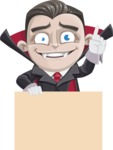 Little Vampire Kid Vector Cartoon Character - Holding Blank Presentation Sign and Making a Point