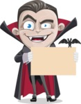 Little Vampire Kid Vector Cartoon Character - Holding Blank Presentation Sign for Halloween