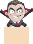 Little Vampire Kid Vector Cartoon Character - Holding Blank Sign and Smiling