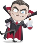 Little Vampire Kid Vector Cartoon Character - Holding Potion
