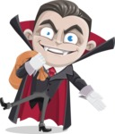 Little Vampire Kid Vector Cartoon Character - Holding Sack with Candies