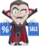 Little Vampire Kid Vector Cartoon Character - Holding Shopping Bags