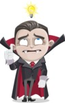 Little Vampire Kid Vector Cartoon Character - Being Smart with an Idea