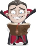 Little Vampire Kid Vector Cartoon Character - Making a Curse with a Book