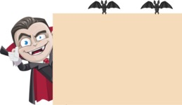 Little Vampire Kid Vector Cartoon Character - Making a Presentation on a Whiteboard