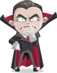 Little Vampire Kid Vector Cartoon Character - Making Quiet Sign with Hand