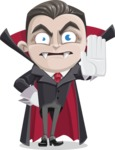 Little Vampire Kid Vector Cartoon Character - Making Stop Sign
