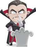 Little Vampire Kid Vector Cartoon Character - On a Grave