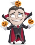 Little Vampire Kid Vector Cartoon Character - Playing on Halloween