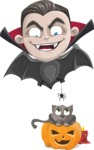 Little Vampire Kid Vector Cartoon Character - Playing With Cat on Halloween