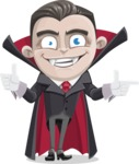 Little Vampire Kid Vector Cartoon Character - Pointing and Making Thumbs Up