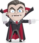 Little Vampire Kid Vector Cartoon Character - Pointing with a Finger