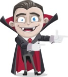 Little Vampire Kid Vector Cartoon Character - Pointing with Hands