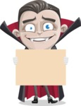 Little Vampire Kid Vector Cartoon Character - Presenting on a Blank Halloween Sign