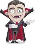 Little Vampire Kid Vector Cartoon Character - Presenting with Both Hands