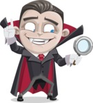 Little Vampire Kid Vector Cartoon Character - Searching