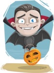 Little Vampire Kid Vector Cartoon Character - With Cool Simple Style Background