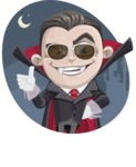 Little Vampire Kid Vector Cartoon Character - With Night Castle Background