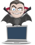Little Vampire Kid Vector Cartoon Character - Showing a Laptop