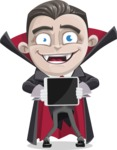 Little Vampire Kid Vector Cartoon Character - Showing on a Blank Tablet