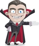 Little Vampire Kid Vector Cartoon Character - Showing with a Hand