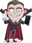 Little Vampire Kid Vector Cartoon Character - Being Modern with a Tablet