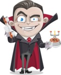 Little Vampire Kid Vector Cartoon Character - Talking on Phone