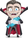 Little Vampire Kid Vector Cartoon Character - Turned into a Bat With Halloween Candy